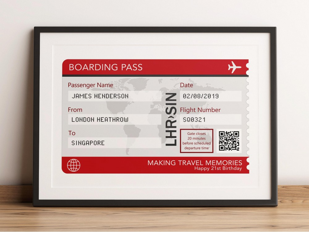Personalised Airline Boarding Pass Print
