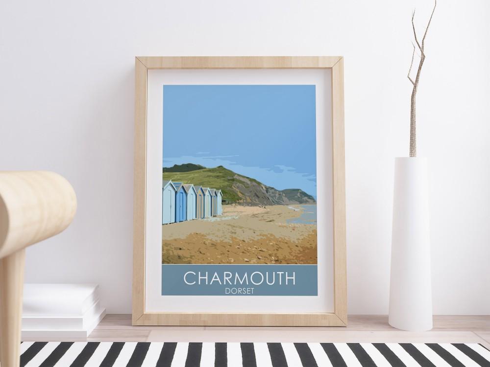 Charmouth Beach Huts Print