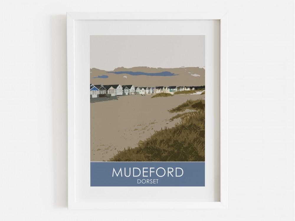 Mudeford Beach Huts Print