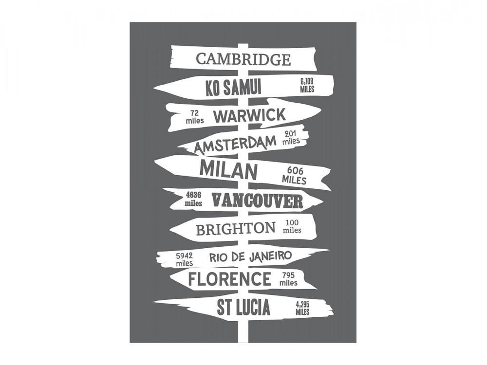 Personalised Signpost Destination Print