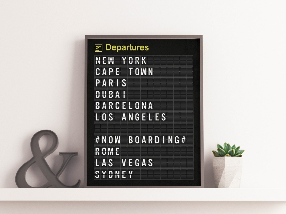 Personalised Airport Departure Board Print