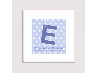 Initial Birth Print - Blue