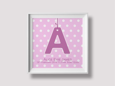 Initial Birth Print / Canvas - Pink