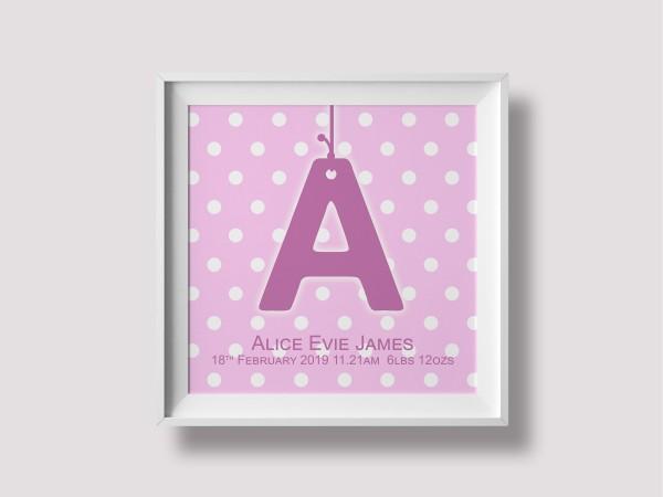 Initial Birth Print - Pink