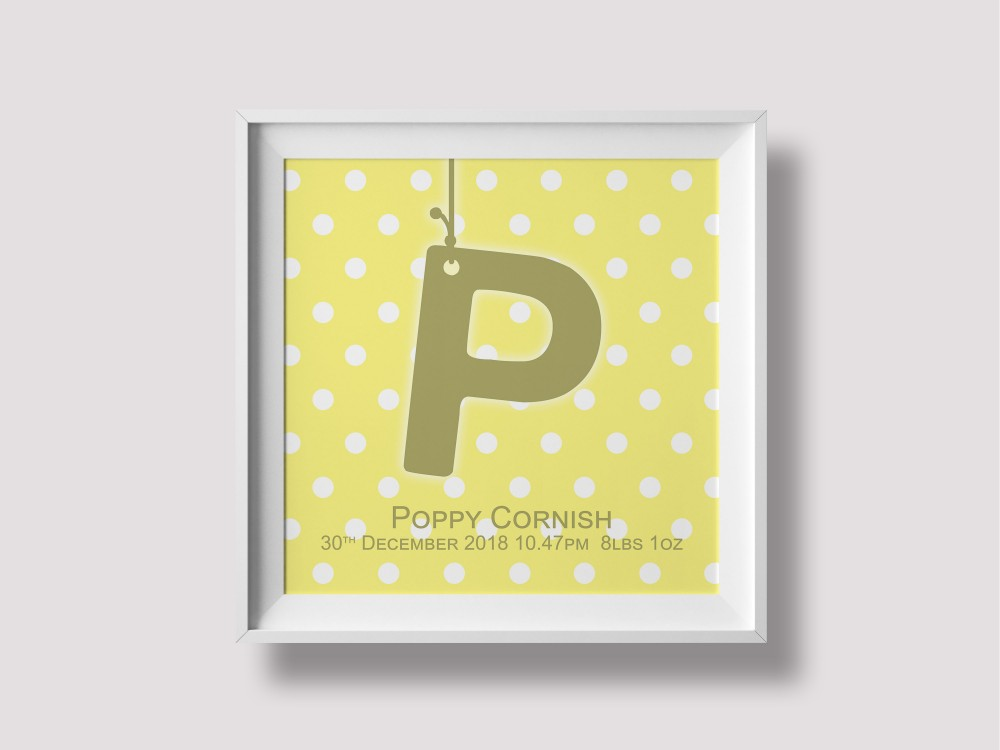 Initial Birth Print / Canvas - Yellow
