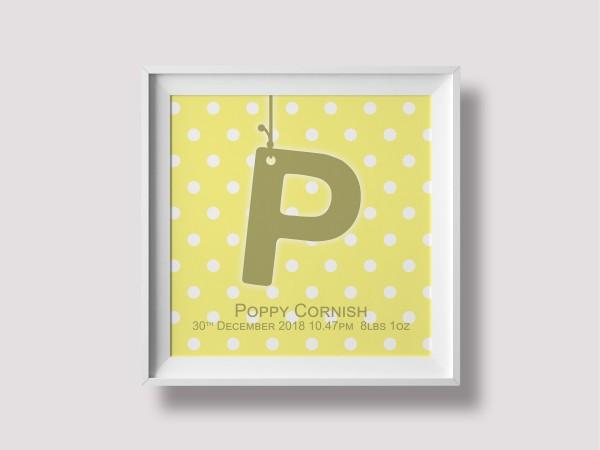 Initial Birth Print - Yellow
