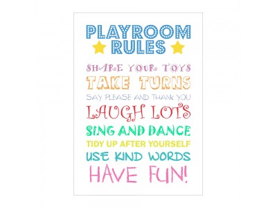 Playtime Rules Poster Print