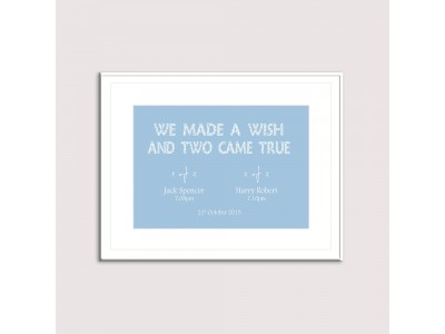 We Made A Wish - Blue Twins Print