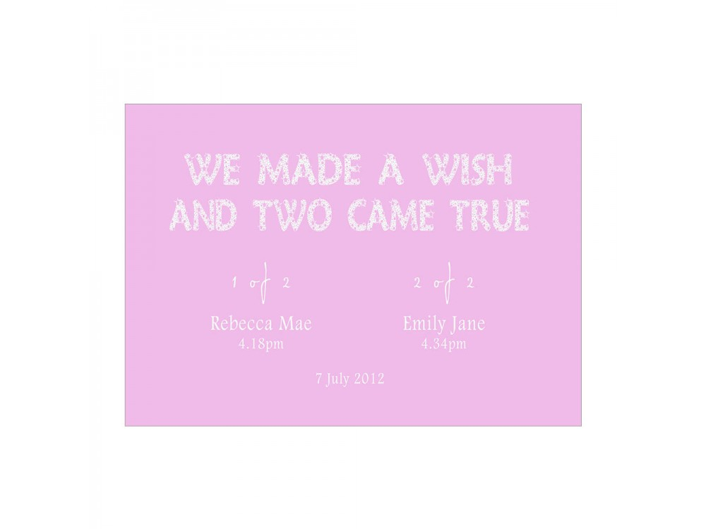 We Made A Wish - Pink Twins Print