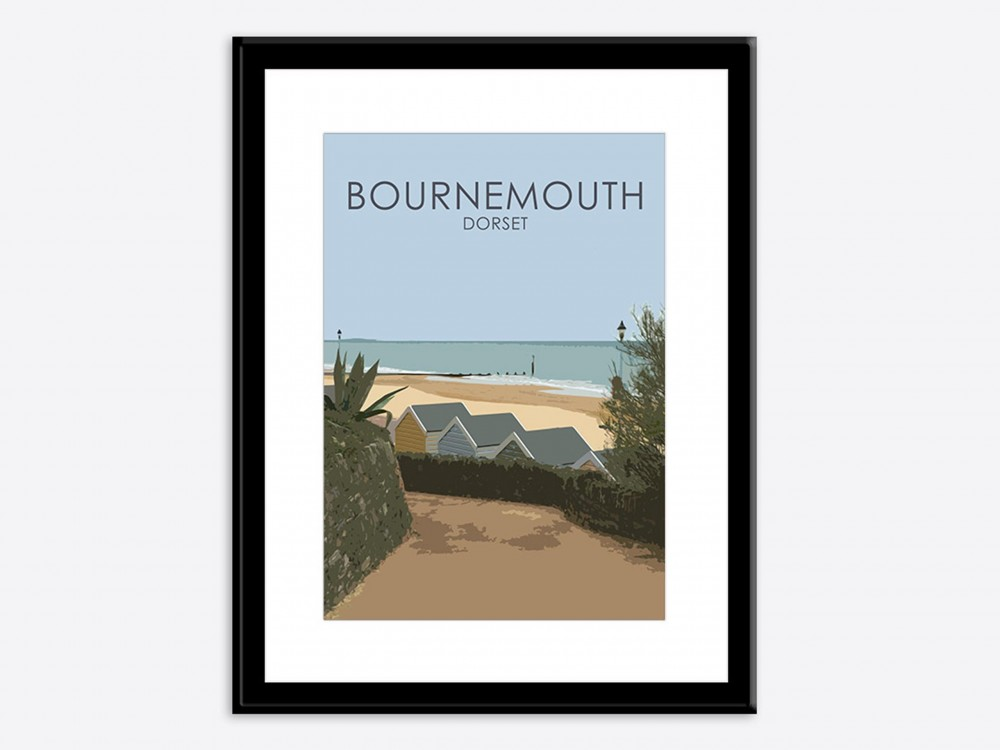 Bournemouth Beach Huts Poster Print