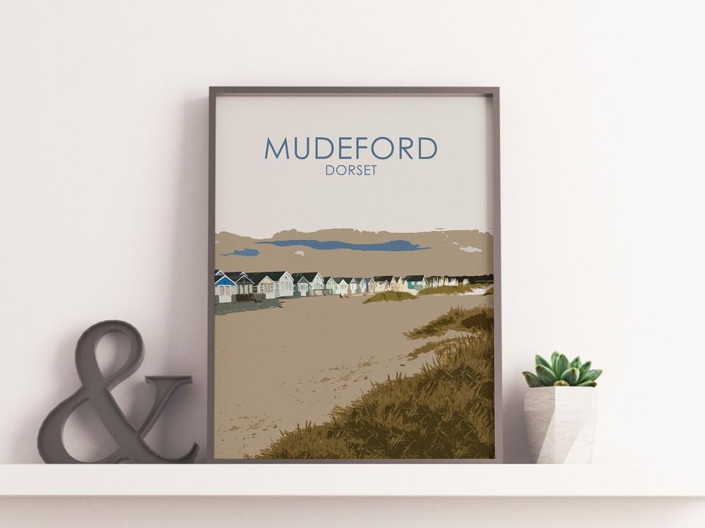 Mudeford Beach Huts Poster Print