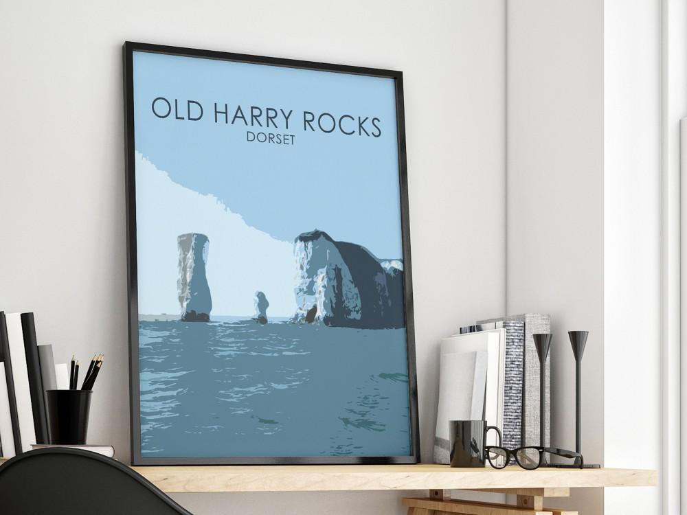 Old Harry Rocks Poster Print